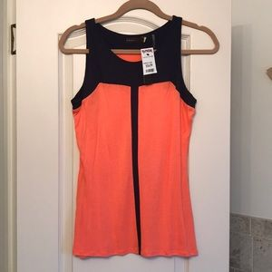 Area flowy tank top navy and orange